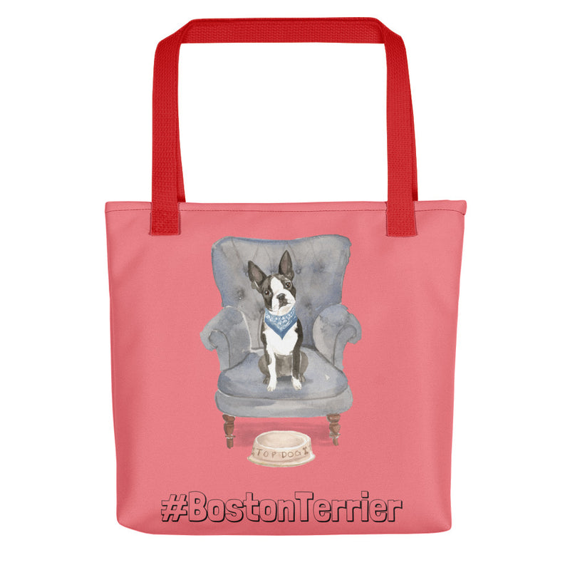 Stylishe Tote Bag mit Boston-Terrier-Motiv (Sessel) - wauwau-wow.com