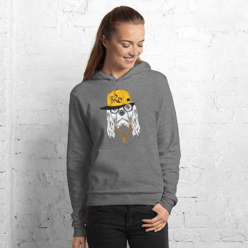 Hoodie mit origineller HipHop-Spaniel-Illustration - wauwau-wow.com