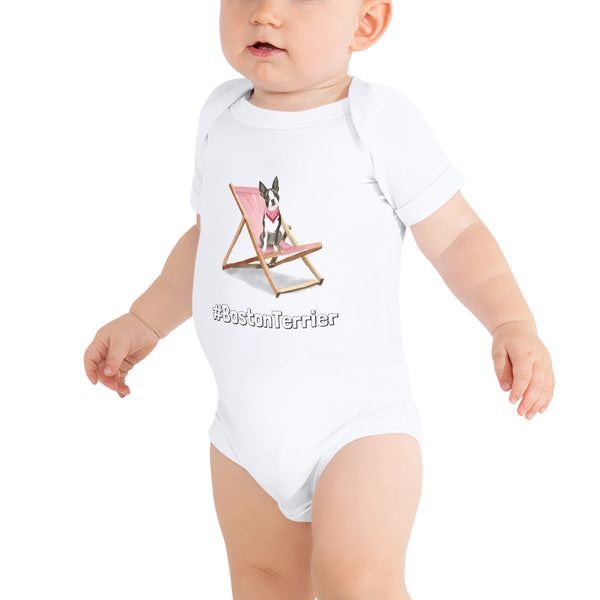 Baby-Body aus Baumwolle, mit Boston-Terrier-Illustration - wauwau-wow.com