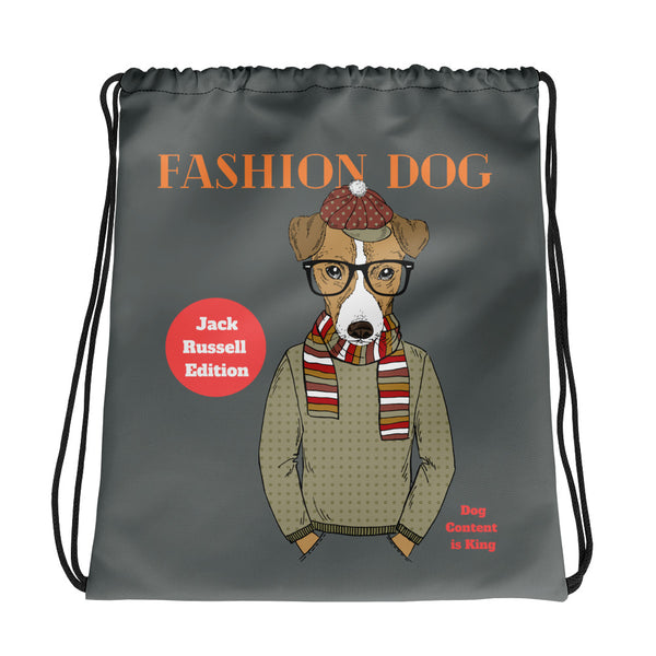 Drawstring Bag mit Jack-Russell-Hipster-Illustration - wauwau-wow.com