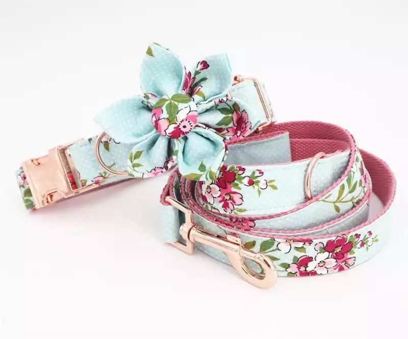 Personalized Dog Collar Engraved, XL Dog Flower Collar Bow, Floral Female Pet Collar Customized, XS Puppy Collar And Leash, Adjustable Sizes
