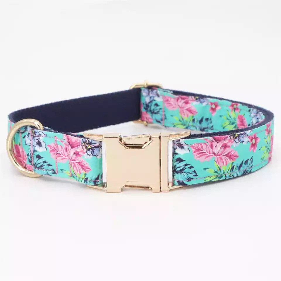 Personalize dog collar, floral dog collar, dog Collar with name, Female Dog Collar, large dog collar, girl dog collar and leash, cute pet