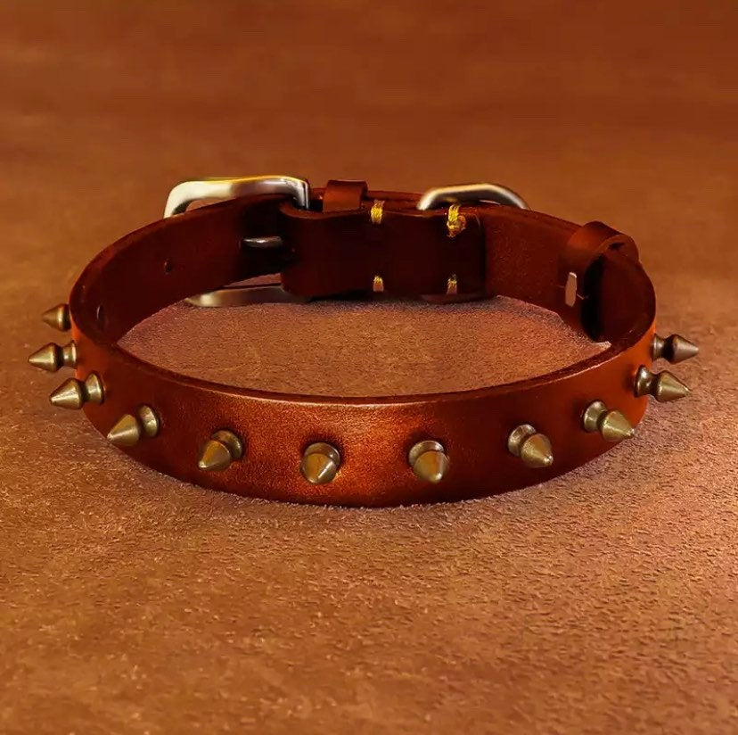 Personalized  Sturdy Handmade Adjustable Leather Dog Collar Metal Spiked Embedded Cat/Dog Collars For XS-XXL Dogs. Add Name & Phone