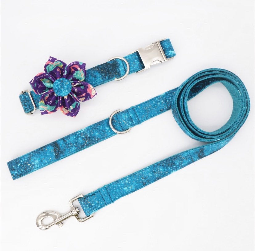Personalized dog collar girl, large dog collar, flower dog Collar with name, Female Dog Collar,cute dog collar and leash set, pet supplies