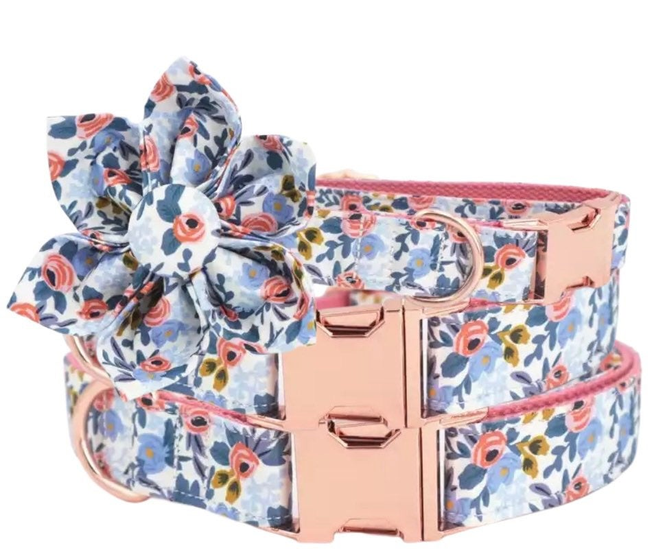 Personalized dog collar, floral dog collar,girl dog Collar with name, Female Dog Collar,cute dog collar flower bow,girl dog collar leash set