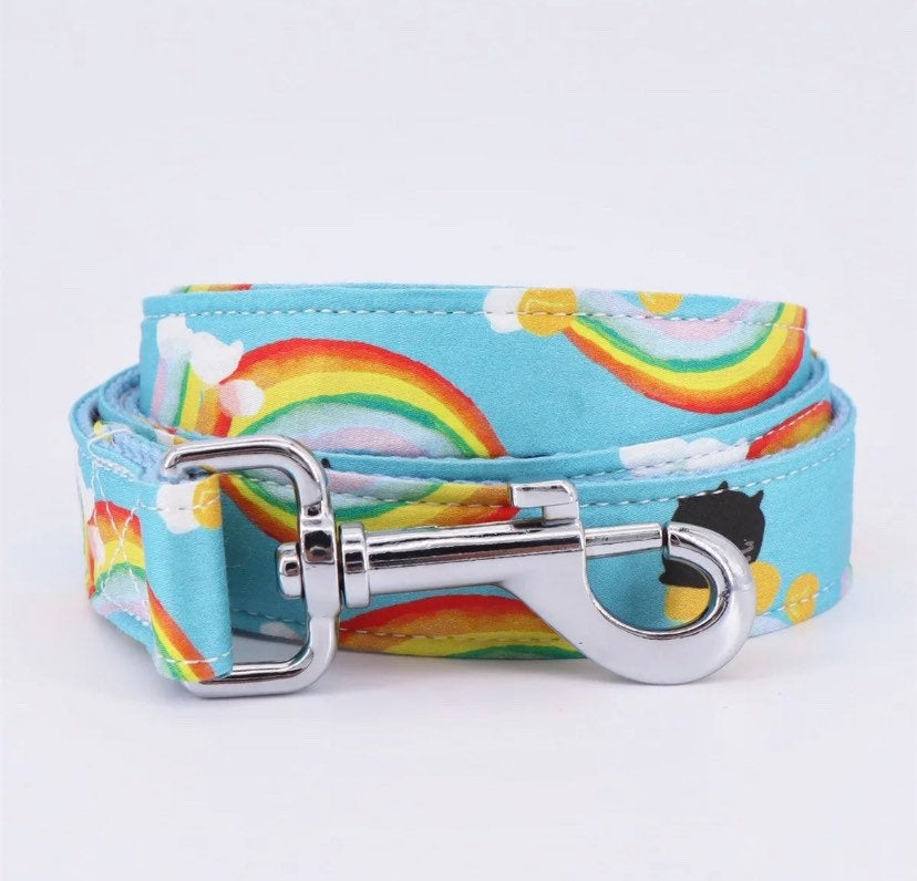 Personalized Dog Collar with Bow, Rainbow Dog Collar and Leash, XS Dog Collar Engraved, Boy Dog Collar leash, Adjustable Size & Eco Friendly