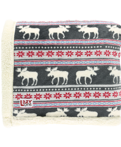 Moose Fair Isle - Sherpa Throw Blanket