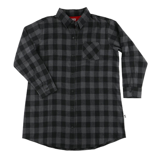 Grey Plaid - Flannel Nightshirt
