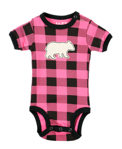 Bear Plaid (Pink) - Infant Creeper