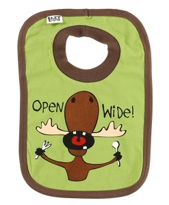 Open Wide Moose (Green) - Infant Bib
