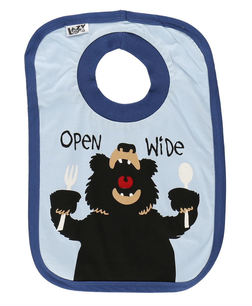 Open Wide (Blue) - Infant Bib