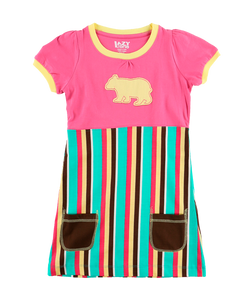Bear Stripe - Kids Tee Dresses