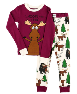Moose Hug (Purple) - Kids PJ Set