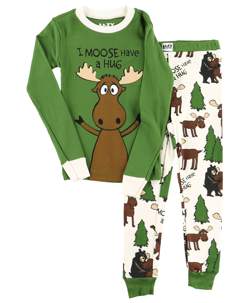 Moose Hug (Green) - Kids PJ Set