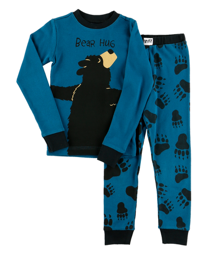 Bear Hug (Blue) - Kids PJ Set