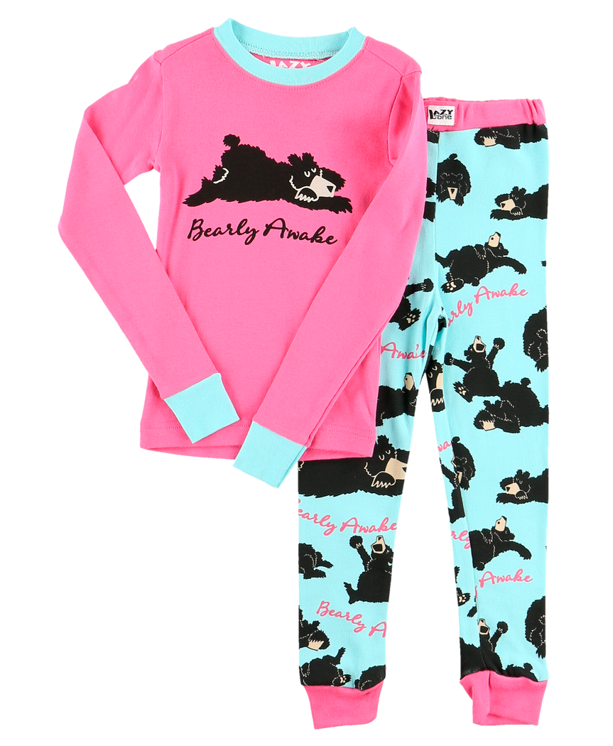Bearly Awake (Pink) - Kids PJ Set