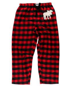 Moose Red Plaid  - Unisex PJ Pants