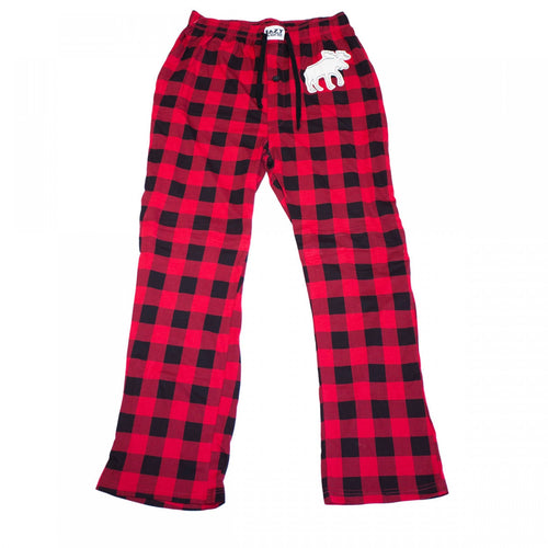 Moose Red Plaid - Unisex Flannel PJ Pants