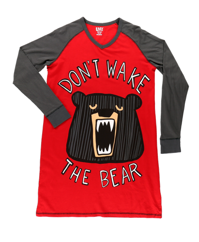 Wake The Bear - V-Neck Long Sleeve Nightshirt
