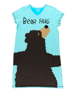 Bear Hug Blue - V-Neck Night Shirt