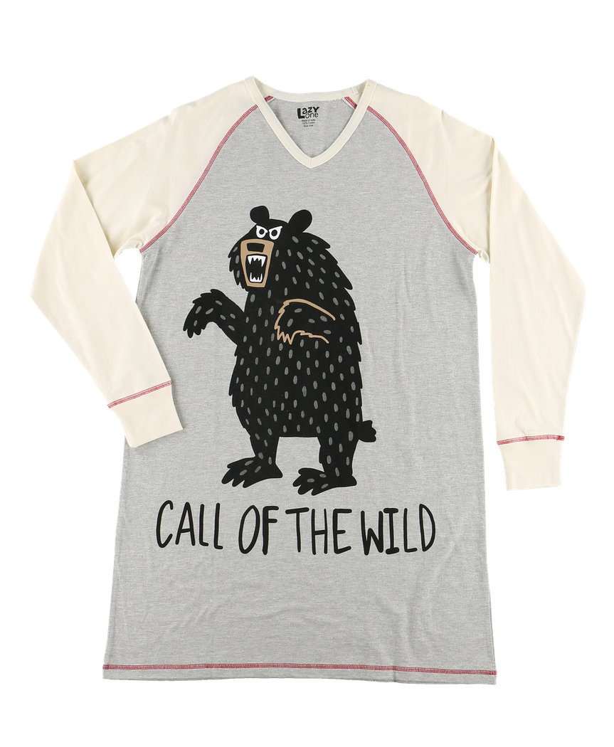 Call of The Wild - V-Neck Long Sleeve Nightshirt