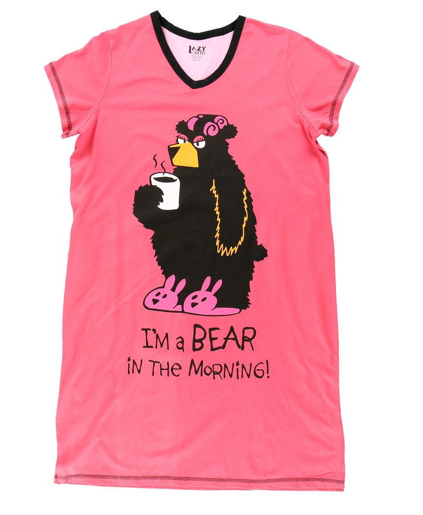 Bear In The Morning - V-Neck Nightshirt