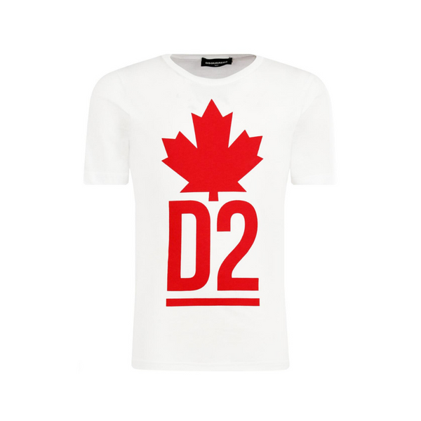 Junior White Tee with Red Leaf