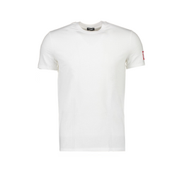 white tee with red box