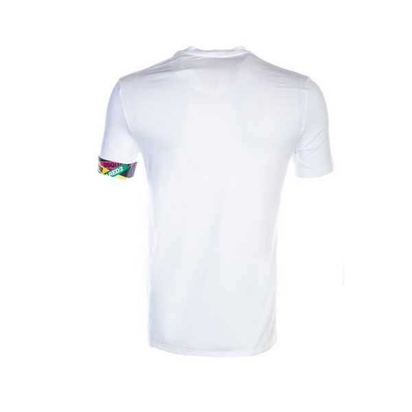 white tee with colourful arm band