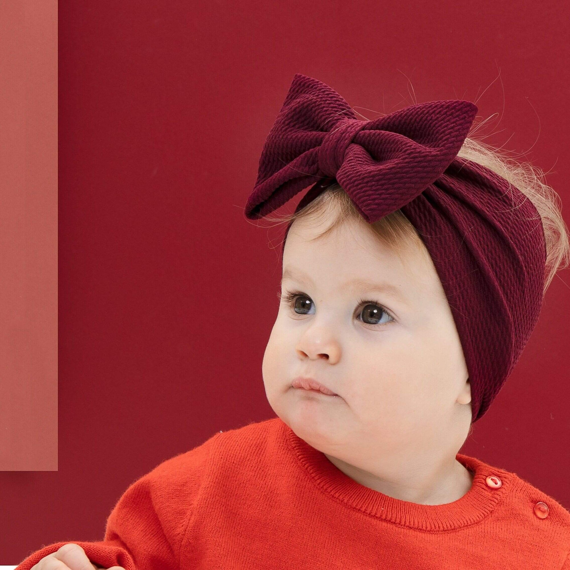 ANNA Headband - BORDEAUX Newborn Headband Adult Headband Chemo cap