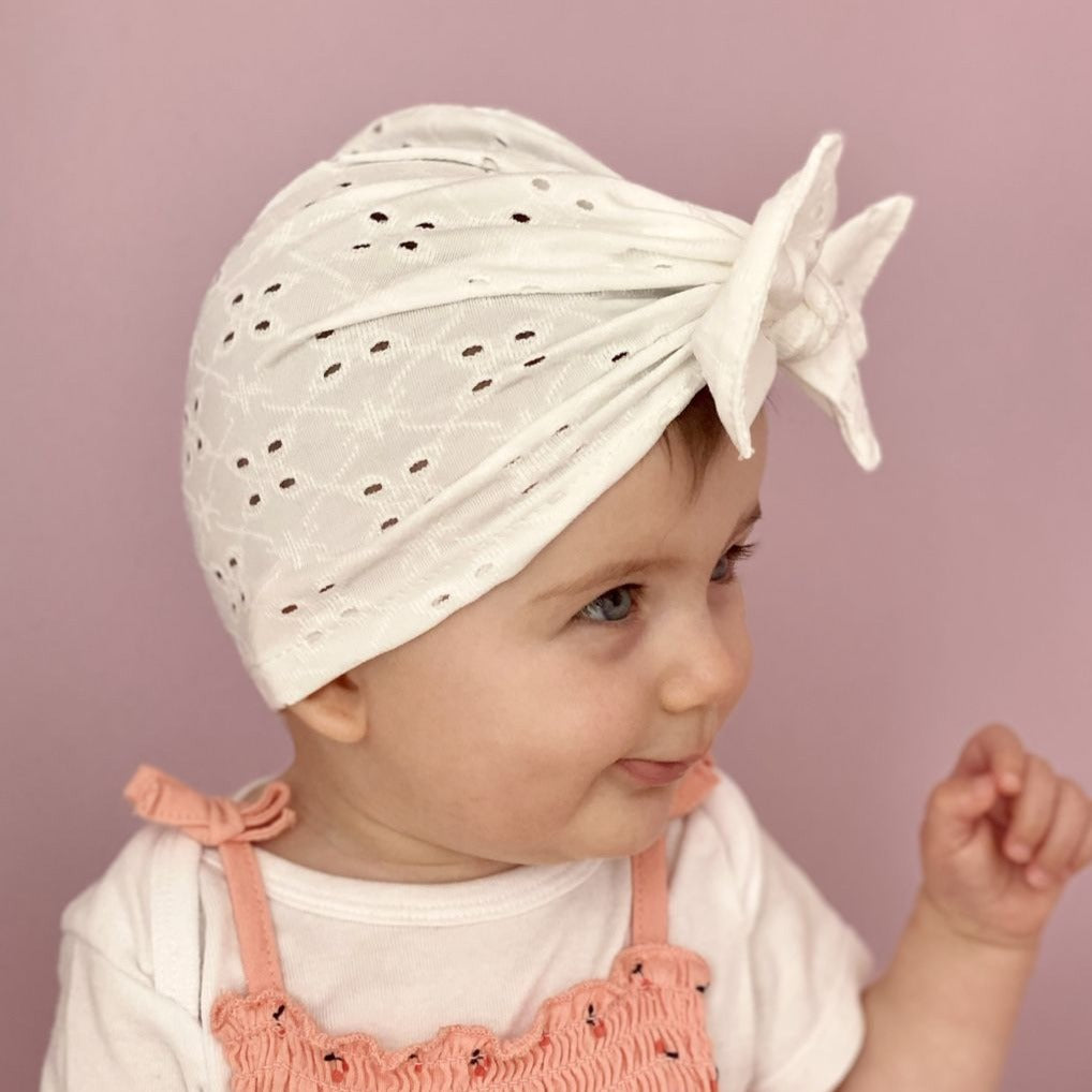 MARY Turban - White Lace Newborn headband Adult headband Chemo cap