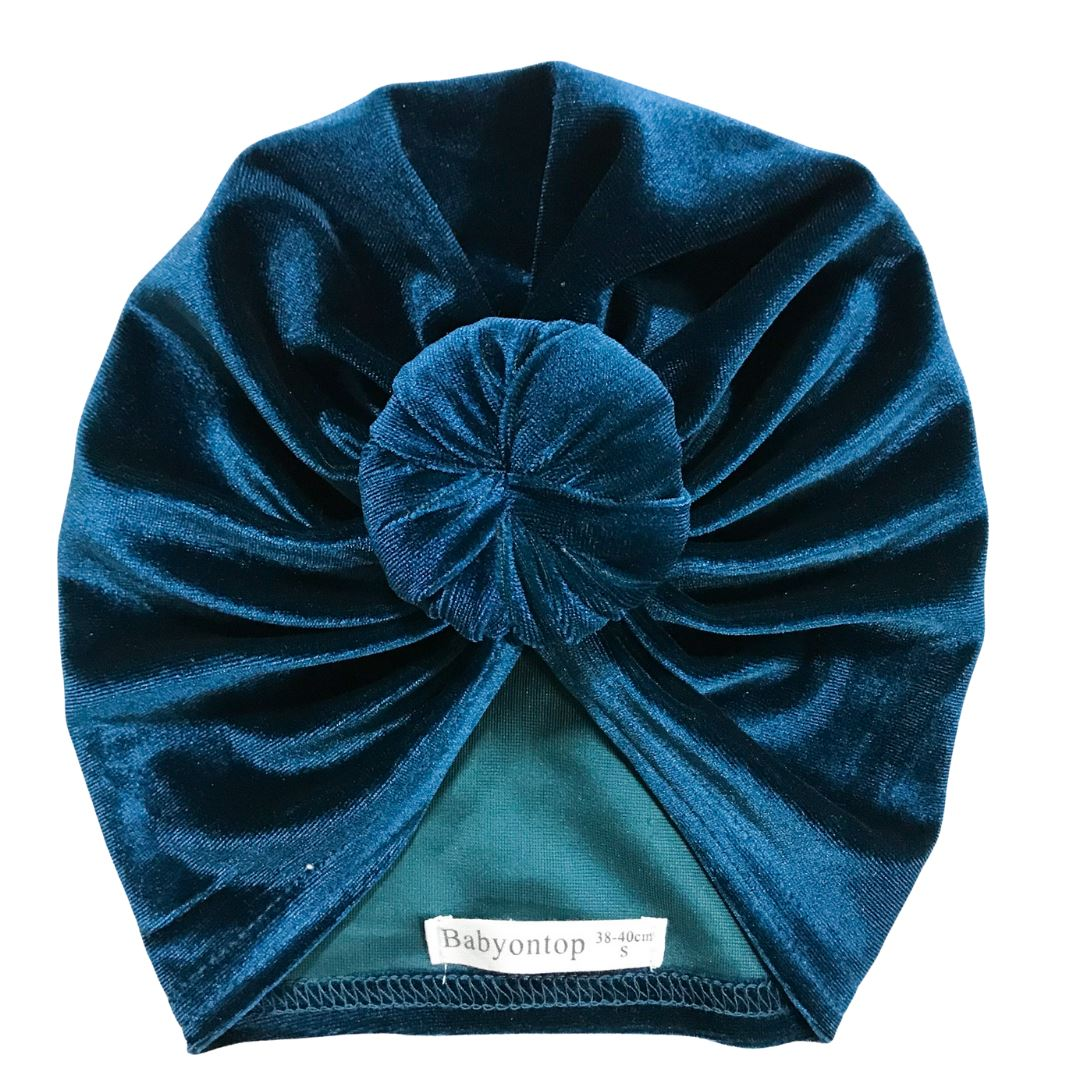 Turban IVY-Velvet Blue Canard Bandeau birth adult headband Chimio