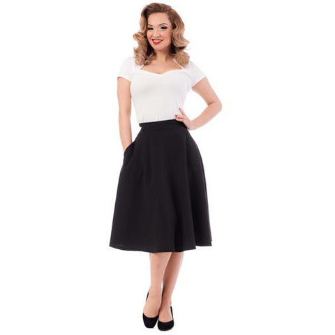High Waist Thrills Skirt with Pockets-Black