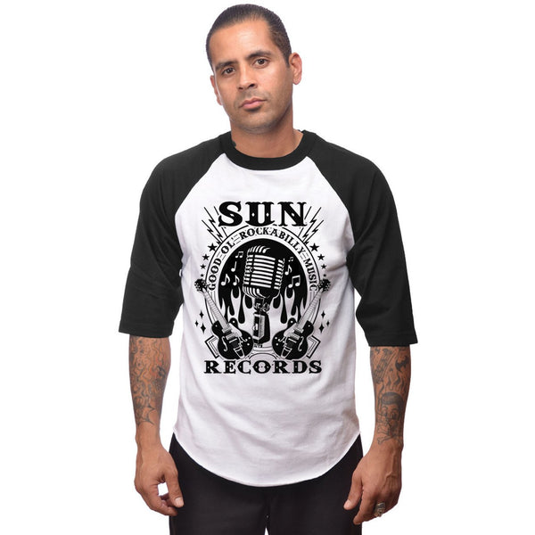 Sun Records Men's Baseball Tee Black and White