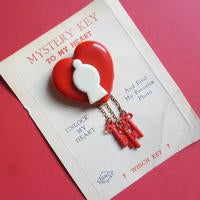 Mystery Key to my Heart Brooch-Red and White
