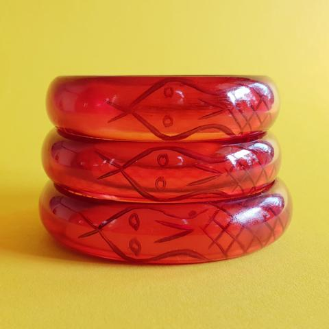 Sally Snake Charmer Bangle-Red