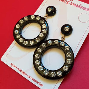 Rita Diamanté Hoop Earrings-Black