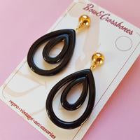 Olivia Oval Hoop Earrings-Black