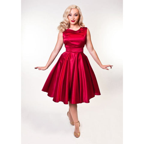 Bettie Page  Suzette Dress-Burgundy XL