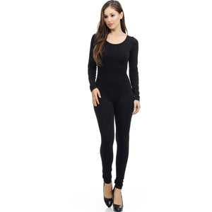 Black Full Nylon Spandex Jumpsuit