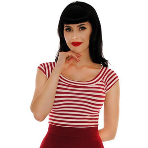 Striped Boatneck Top in Wine