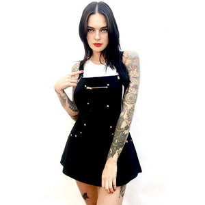 Black Studded Suspender Dress