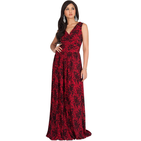 KOH KOH Womens Long Lace Floral Print Sleeveless Semi Formal Summer Maxi Dress