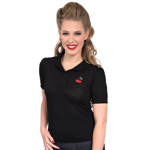 Cherry Sweater Top-Black