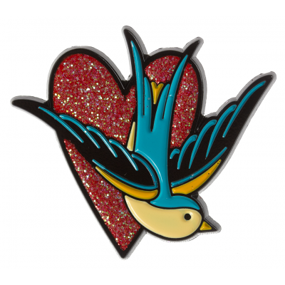 Sparrow Heart Enamel Pin