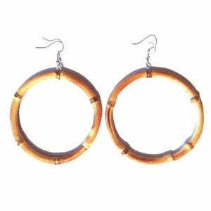Tiki Bamboo hoop Earrings-Round