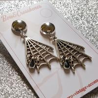 Mara Spiderweb Earrings-Silver