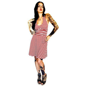 Marilyn Halter Dress-Red and White Stripes
