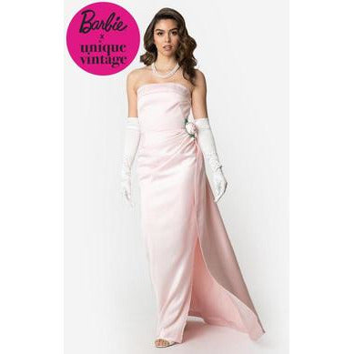 Barbie x  Pink Satin Strapless Enchanted Evening Gown.