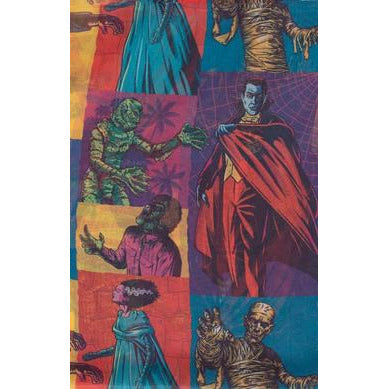 Universal Monsters x Unique Vintage Pin-Up Monster Mania Print Chiffon Hair Scarf